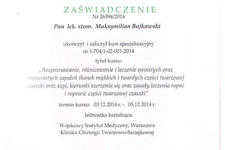 Zaświadczenie kurs specjalizacyjny Maksymilian Bojkowski