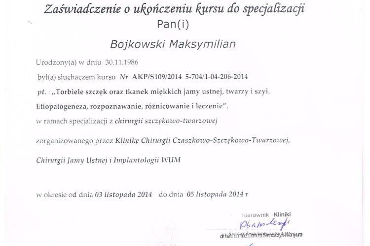 Certyfikat Pierwotne Leczenie kanałowe Maksymilian Bojkowski