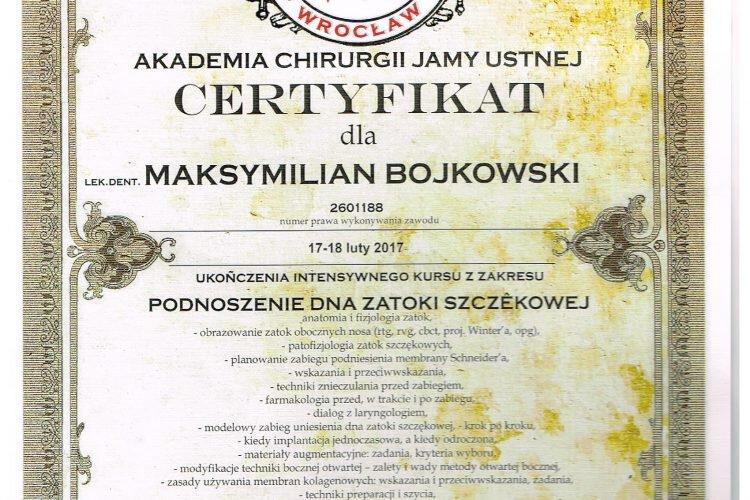 Certyfikat Akademia Jamy Ustnej Maksymilian Bojkowski