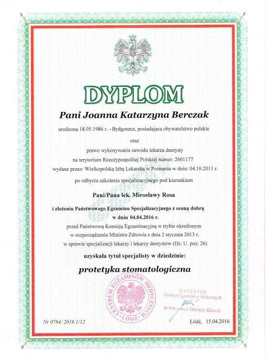 Dyplom protetyka stomatologiczna Joanna Bojkowska