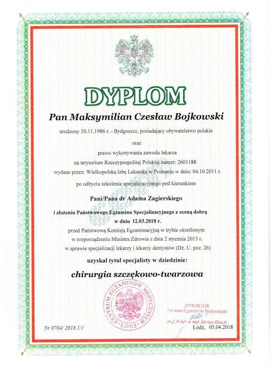 Dyplom chirurgia szczękowo-twarzowa Maksymilian Bojkowski